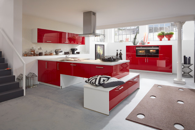 Musterring Kuche Mr2400 Farbe Rot Contemporary Kitchen
