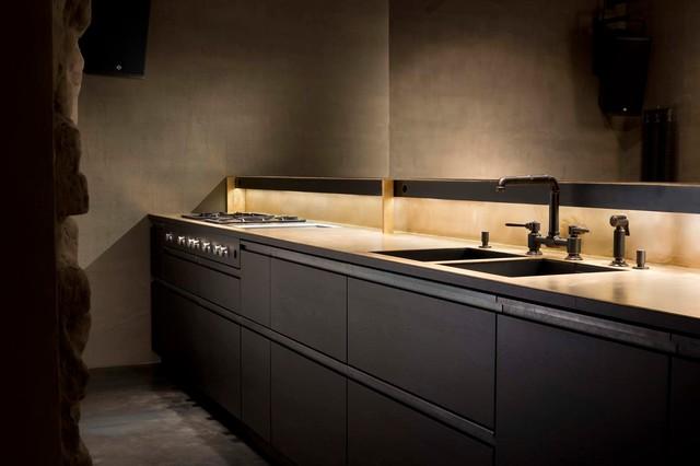 raumteiler mit k che und dj pult tombak eiche stahl. Black Bedroom Furniture Sets. Home Design Ideas