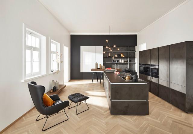 Zement Grau Inselküche U Form - Modern - Küche - Berlin ...