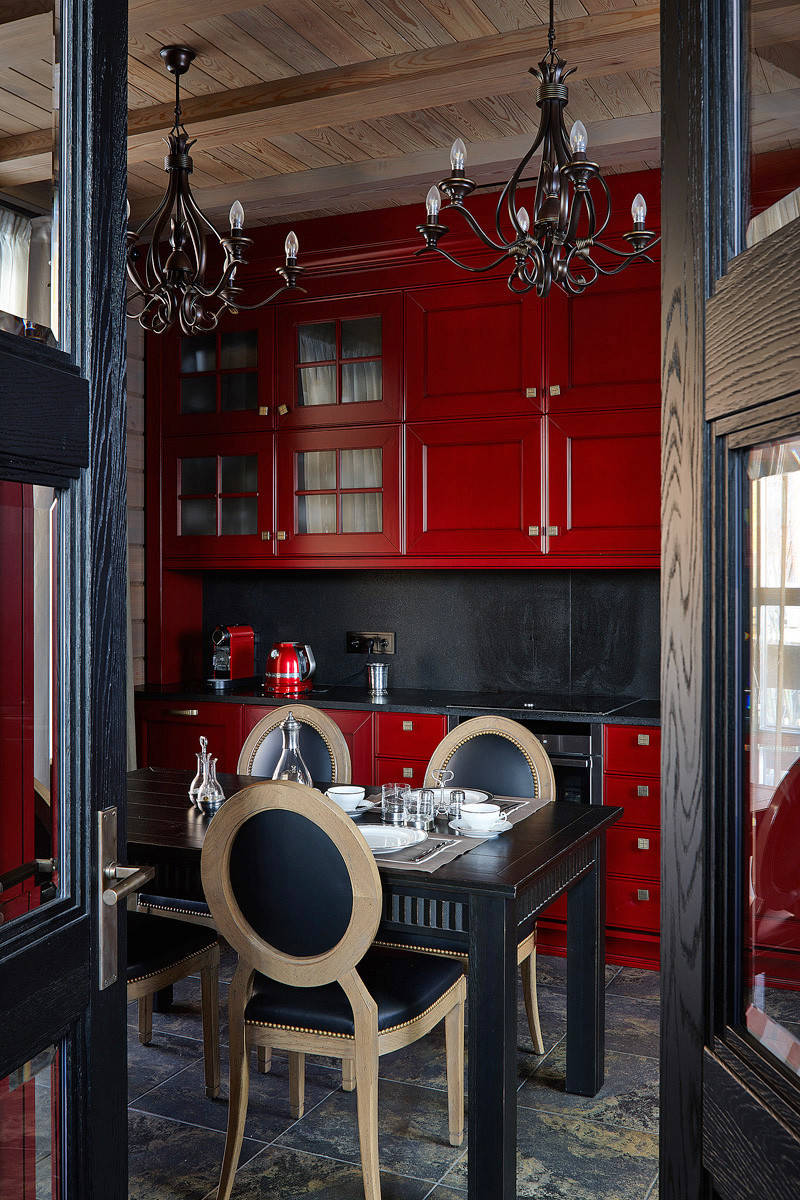 75 Beautiful Kitchen With Red Cabinets And Black Backsplash Pictures Ideas April 2021 Houzz