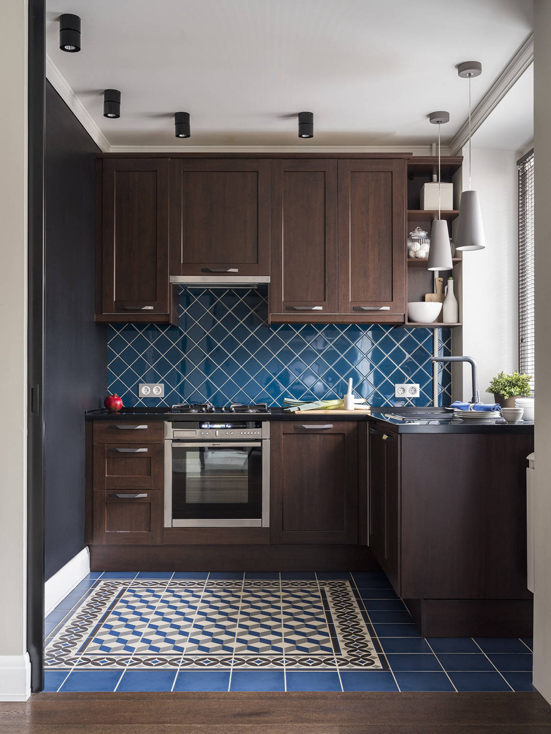 9 Beautiful Small Kitchen with Dark Wood Cabinets Pictures ...