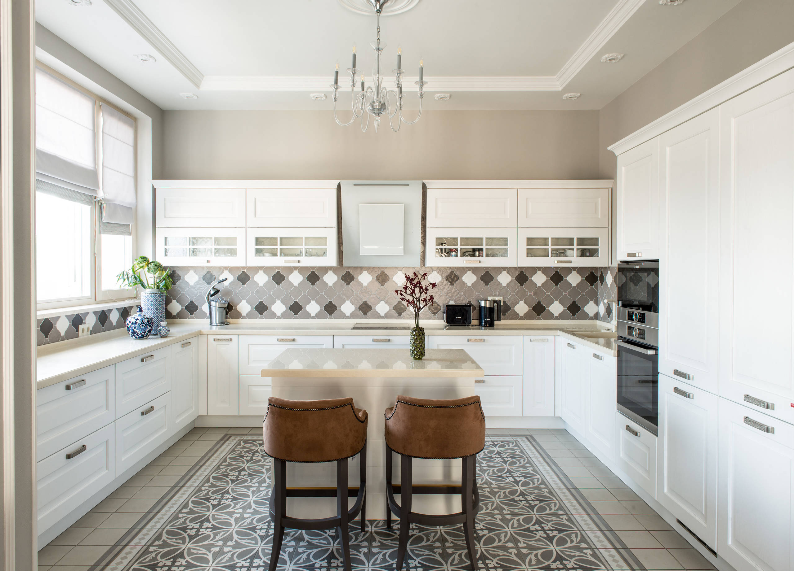 Tile Floor with White Cabinets   Houzz