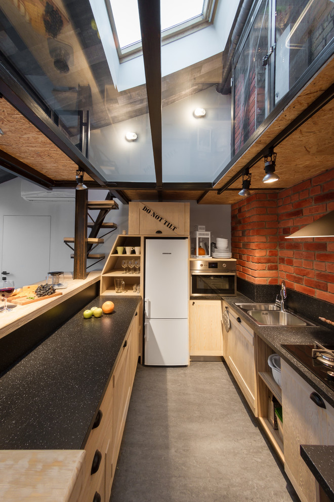 Inspiration for a mid-sized industrial u-shaped linoleum floor open concept kitchen remodel in Saint Petersburg with laminate countertops, black backsplash, a double-bowl sink, recessed-panel cabinets, light wood cabinets and a peninsula