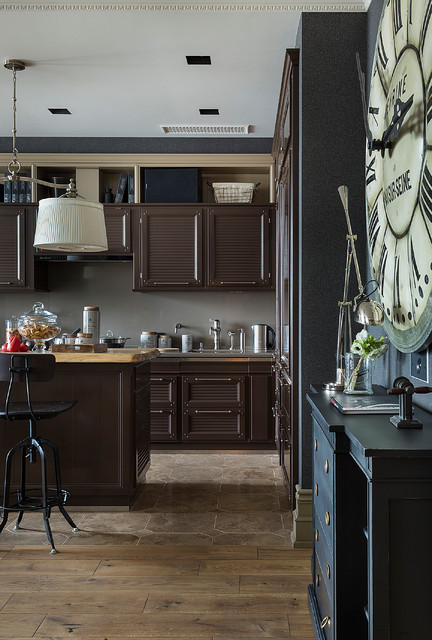 Transitional single-wall open concept kitchen photo in Moscow with louvered cabinets, brown cabinets, gray backsplash and an island