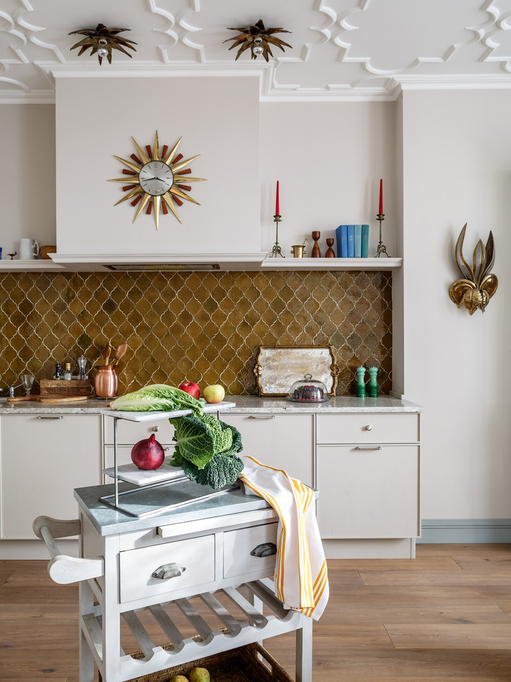 Transitional light wood floor and beige floor kitchen photo in Moscow with beaded inset cabinets, brown backsplash and beige cabinets