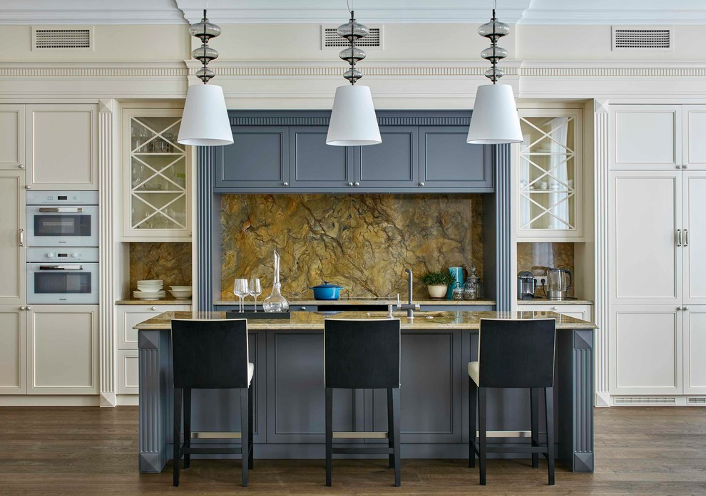 Elegant galley dark wood floor and brown floor kitchen photo in Moscow with beaded inset cabinets, blue cabinets, yellow backsplash, white appliances and an island