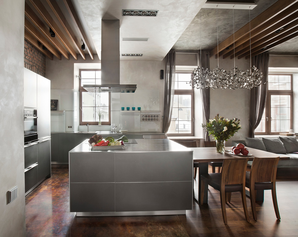 Mid-sized trendy u-shaped open concept kitchen photo in Moscow with flat-panel cabinets, gray cabinets, black appliances and an island