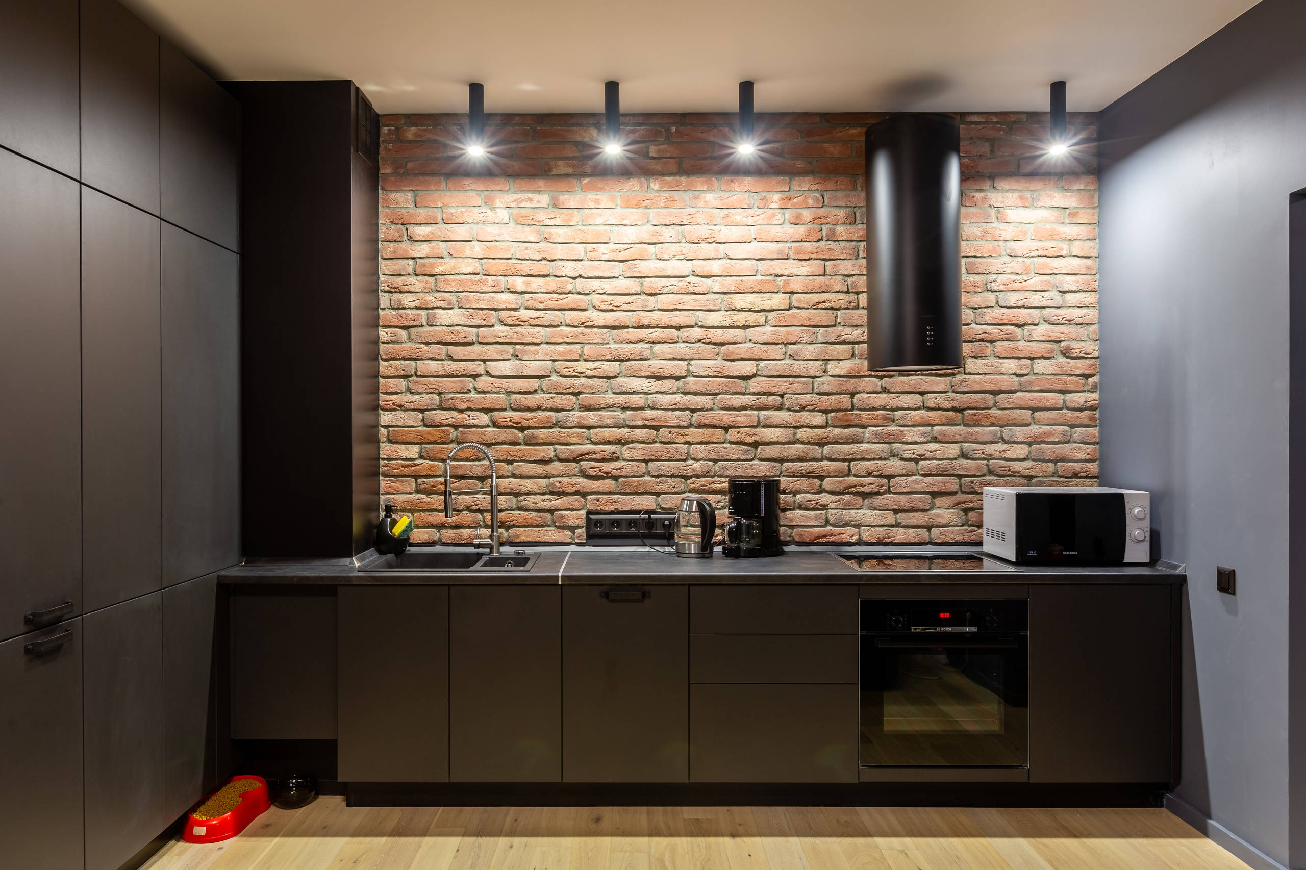75 Beautiful Kitchen With Black Cabinets And Brick Backsplash Pictures Ideas January 2021 Houzz