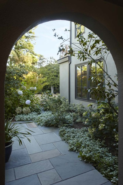 Entry looking into garden traditional landscape