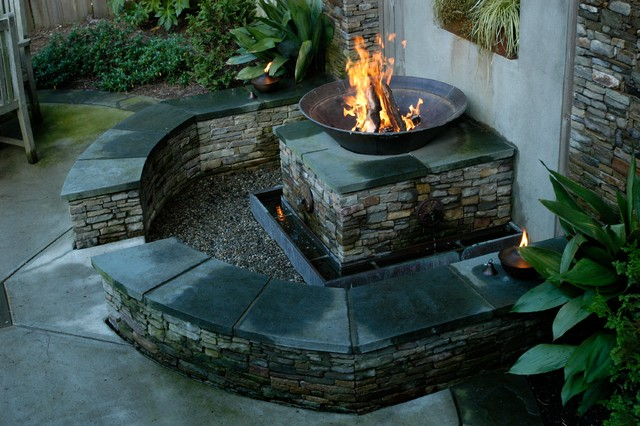 Patio lighting decor - Points Bungalow With Fire Pit Water Feature Eclectic Landscape