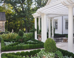A Classic Country White Garden traditional-landscape