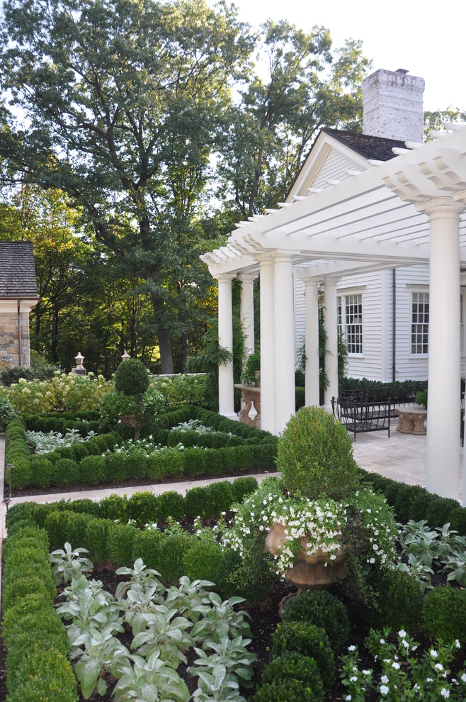 Inspiration for a small french country backyard stone formal garden in New York.