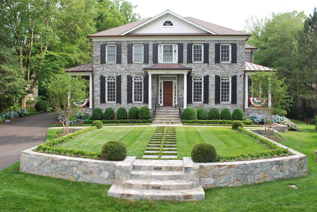 A formal front yard for Formal landscape design