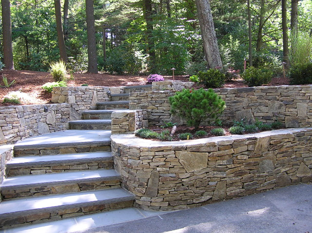A New and Inviting Hillside Entrance - Traditional ... on Tiered Patio Ideas id=68020