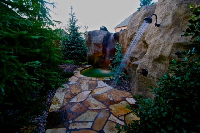 A Rustic Mine-Themed Pool & Grotto in Oklahoma - Traditional ...