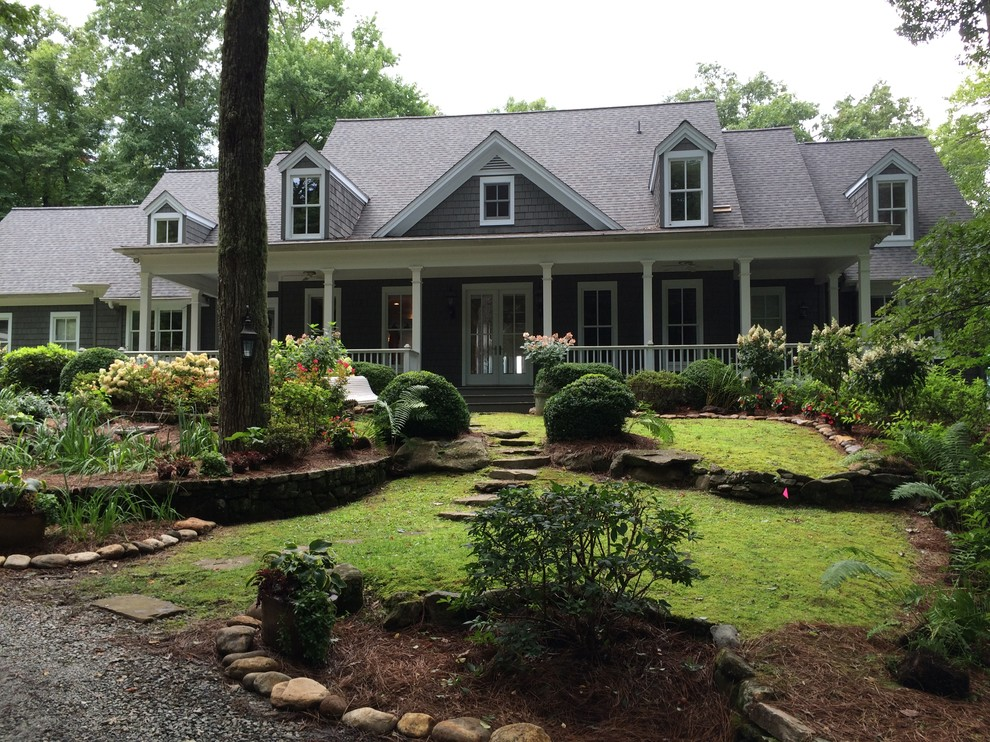 A Shady Front Yard Landscape Design For Mountains Traditional