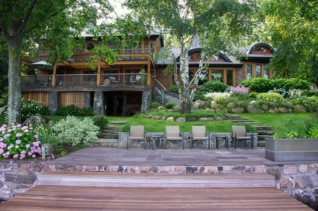 A view from the boat dock craftsman landscape new for Garden design troller boat