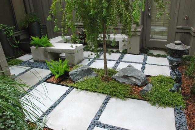 A zen garden in 225 sq ft asian landscape orlando for Small japanese garden designs modern