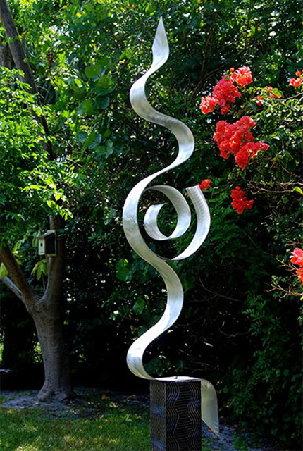 Beautiful Abstract Silver Metal Garden Sculpture   Looking Forward By Jon Allen  Modern Landscape