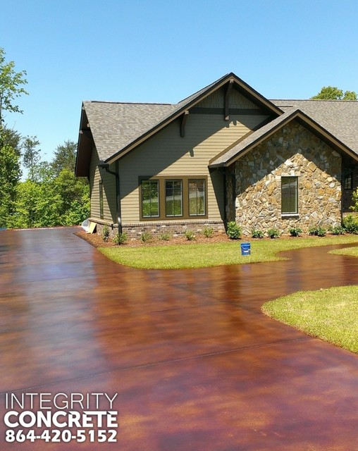 Acid Stained Concrete Driveway Traditional Landscape