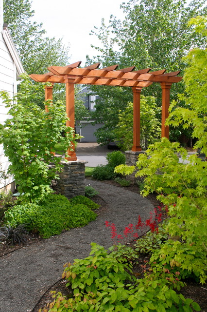 After Curving Path With Arbor Traditional Landscape