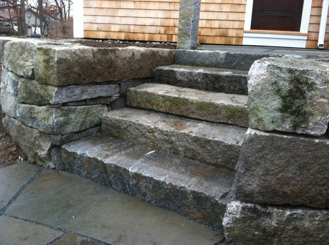 Aged Granite Wall And Steps Landscape
