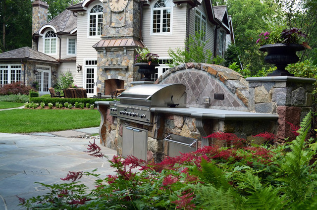 The Allendale NJ outdoor kitchen design and custom outdoor fireplace