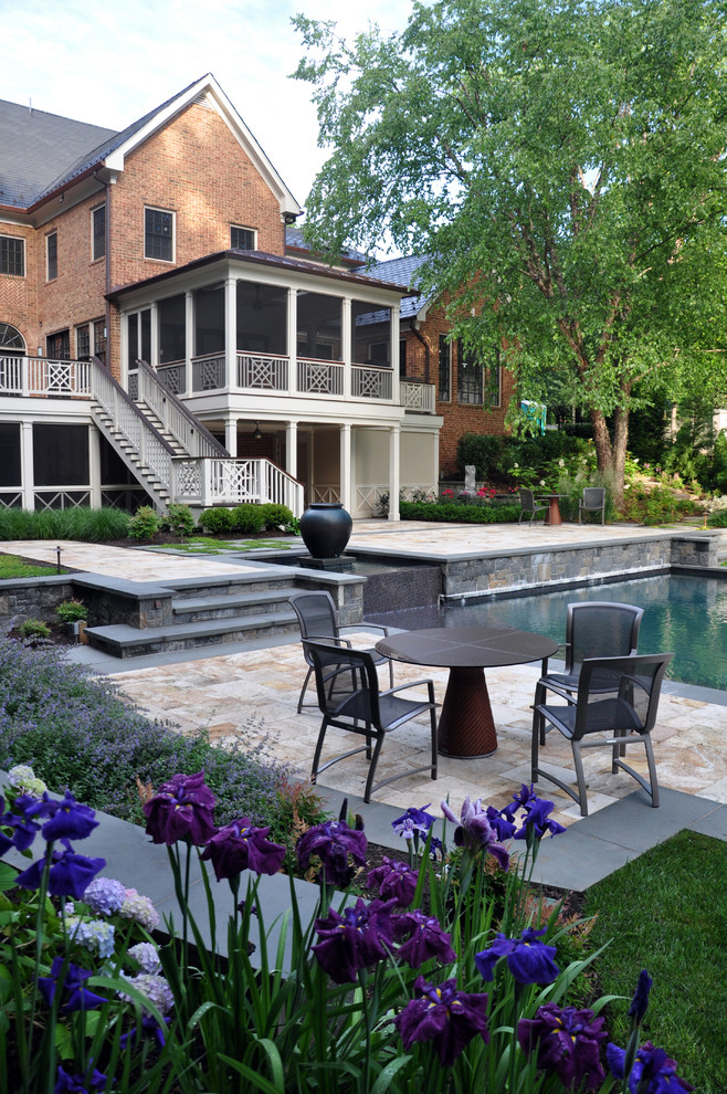 This is an example of a traditional backyard stone landscaping in DC Metro.