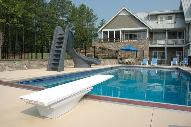 Apex swimming pool at new american farmhouse for Farmhouse with swimming pool