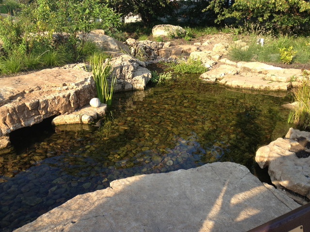 Aquascape ecosystem waterfall pond installation shedd Aquarium landscape