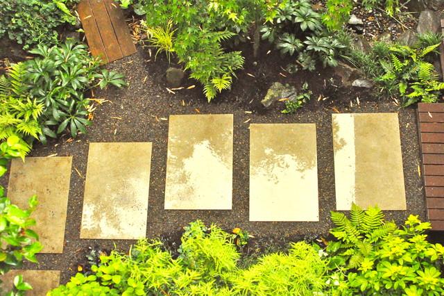 Architectural paver path rain garden japanese garden for Japanese garden path design