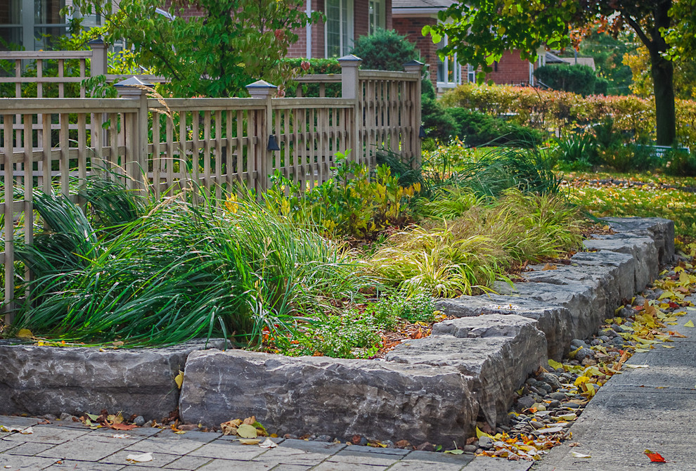 Armour Stone Accents This Front Yard S Design Landscape Toronto By Land Effects Outdoor Living Spaces Ltd