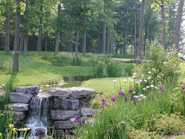 Artificial stream farmhouse landscape new york by a j miller landscape architecture pllc