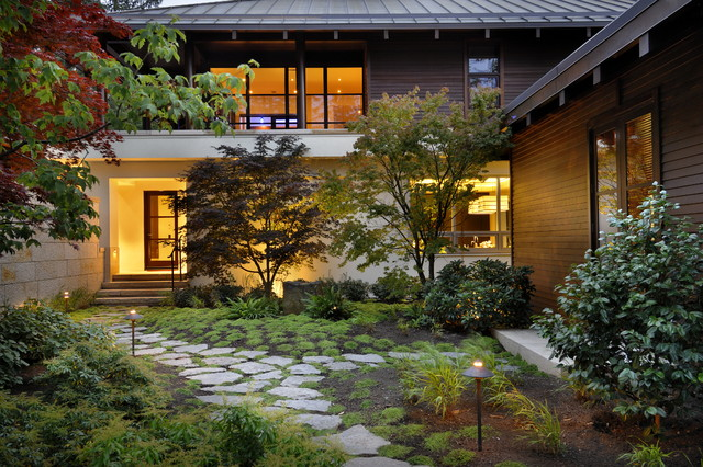 Asian inspired contemporary garden Asian Garden Vancouver