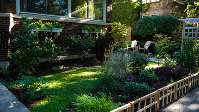 Asian Inspired Front Side Yard Landscaping in Chicago