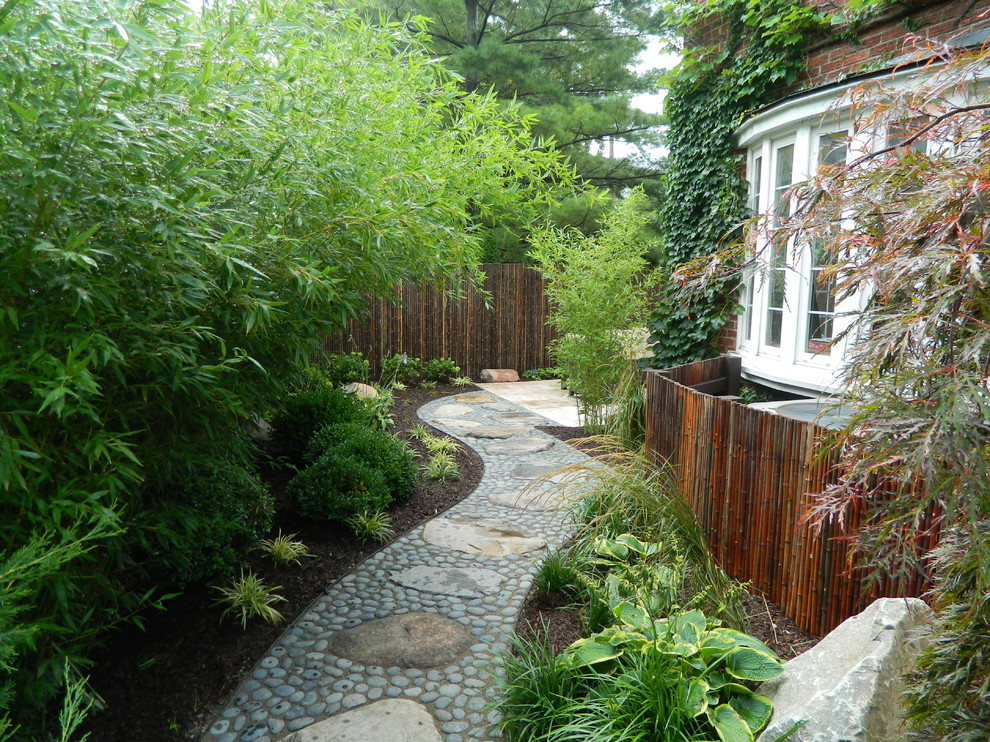 Design ideas for an asian shade stone landscaping in Detroit.