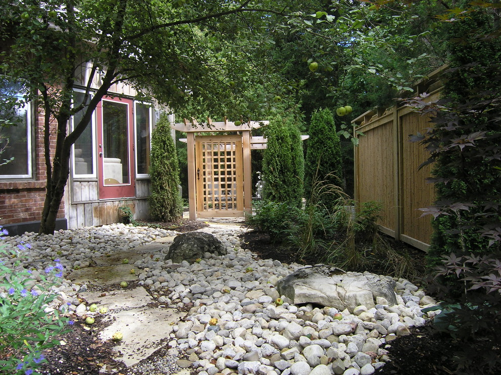 Photo of a contemporary privacy side yard river rock landscaping in Toronto.