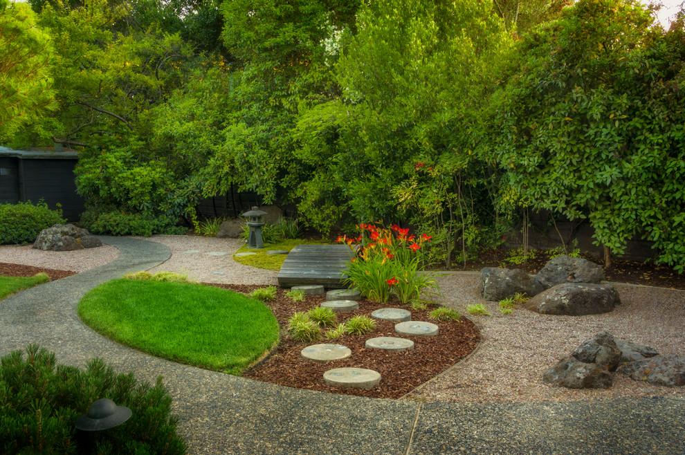 Photo of an asian backyard landscaping in San Francisco.