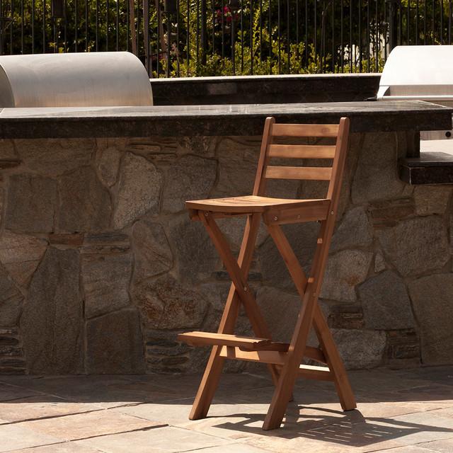Atlantic Foldable Outdoor Wood Bar Stool Modern