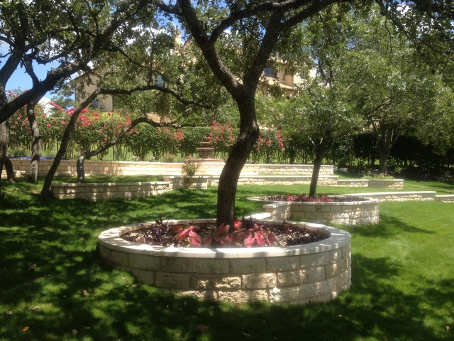 Austin stone terraces and water feature for Landscaping rocks austin