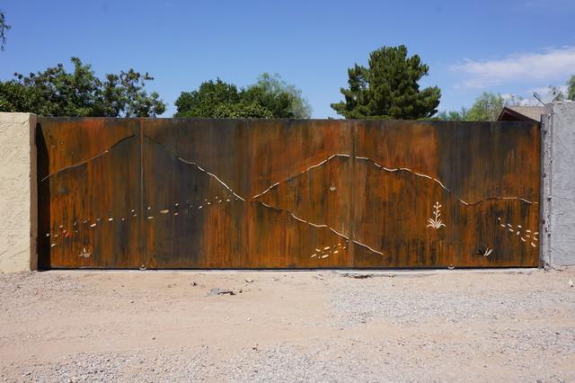 Automatic Entrance Gates Rustic Landscape Phoenix