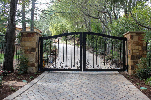Automatic Ornamental Iron Driveway Gates Mediterranean Landscape Other By Diablo Iron Inc