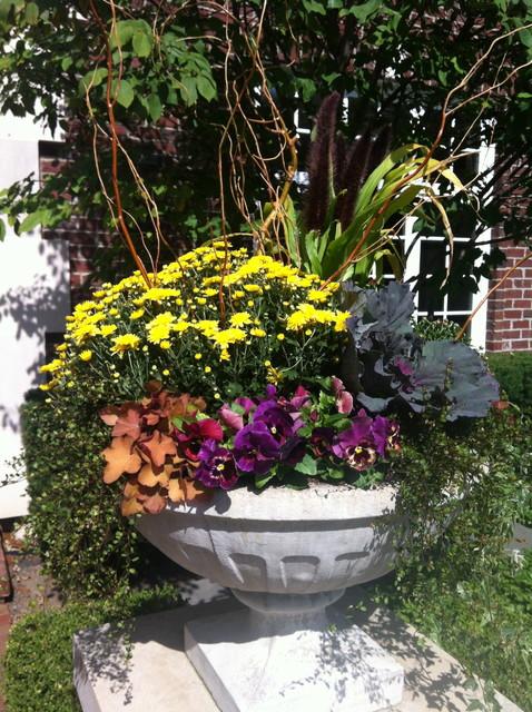 Autumn Seasonal Outdoor Planters traditional-landscape