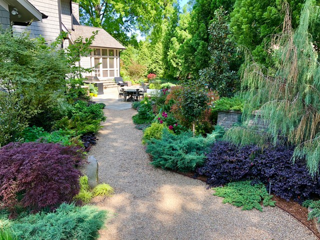 This is an example of an eclectic backyard landscaping in Charlotte.