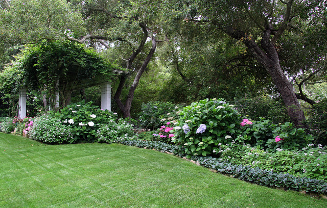Landscaping Ideas For Front Yard Shade : Back yard shade garden traditional landscape santa