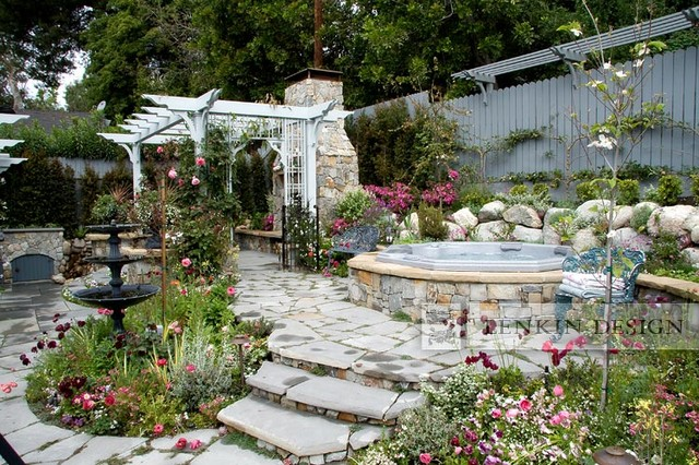 back yard spa and fairy tale garden traditional