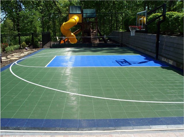 Backyard Basketball Sport Court Traditional Landscape