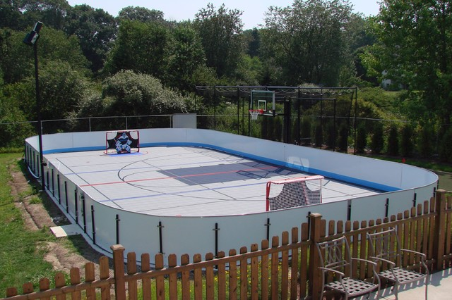 Backyard courts play many sports on one court for Backyard sport court