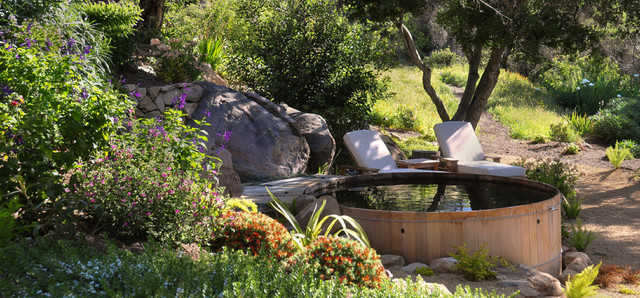 Backyard Designs With Wooden Hot Tubs Contemporary Landscape
