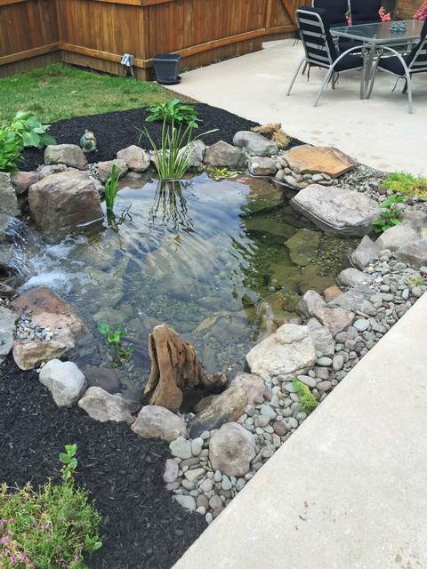 Backyard fish pond installation modern landscape for Koi pond installation